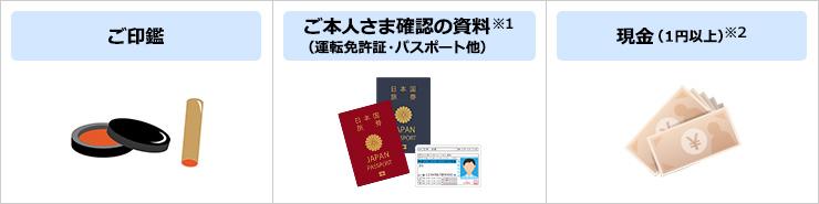 ご印鑑 ご本人さま確認の資料(運転免許証・パスポート他)※1 現金(1円以上)※2